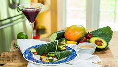Collard Wraps with Dipping Sauce and Ouzo Pomegranate Martinis