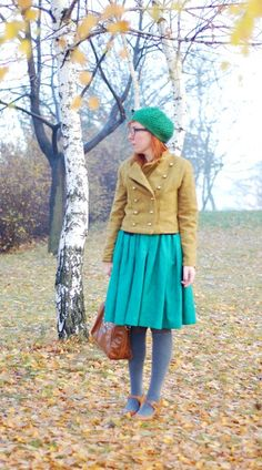 mustard jacket and green dress