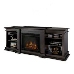 Real Flame Fresno 72 in. Media Console Electric Fireplace in Dark Walnut-G1200E-DW at The Home Depot