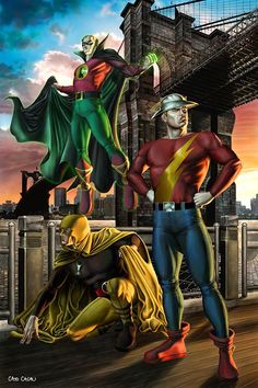 Justice Society of America by Caio Cacau #CaioCacau #JSA #JusticeSociety #GreenLantern #GL #AlanScott #Starheart #GoldenAge #AllStarSquadron #Earth2 #Hourman #RexTyler #Miraclo #JayGarrick #TheFlash