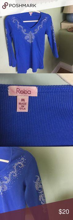 Reba shirt EUC. Reba 3/4 length shirt. Beautiful shade of blue with lots of sparkle. Take me to the rodeo! Reba Tops