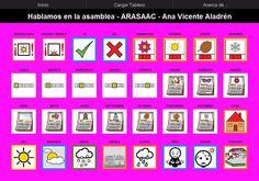 MATERIALES - Asamblea.    Tablero de 32 casillas (8x4) del comunicador AraBoard para comunicarse en la asamblea.    Descargar AraBoard versión PC:  http://giga.cps.unizar.es/affectivelab/araboard.html    Descargar AraBoard versión Android desde Google Play.    http://arasaac.org/materiales.php?id_material=741