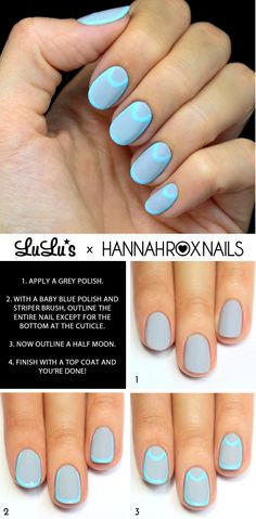 Grey and Blue Outlined Nail Tutorial