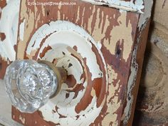 Architectural salvage doorknob with chippy paint