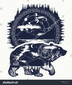 Bear and mountains tattoo art. Bear travel symbol, adventure tourism. Mountain, forest, night sky. Magic tribal bear double exposure animals