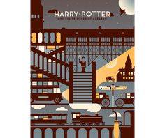 Harry Potter Poster Design with Type {love the textures and shapes} // Illustration by Dominic Flask