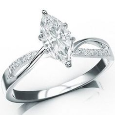 0.76 carat, split shank, narrower band, elegant marquise cut engagement ring