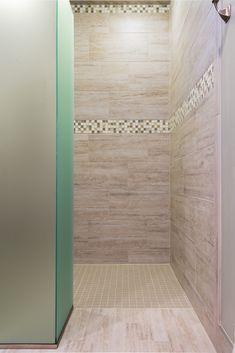 Tile: Vento 6x24 and 12x24 Matte White, Kismet 1x1 Mosaic Blends Heaven