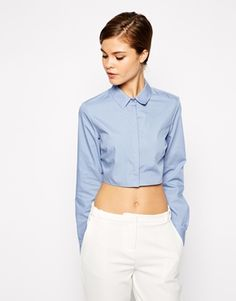 asos cropped button up shirt | comes in white, blue, or black