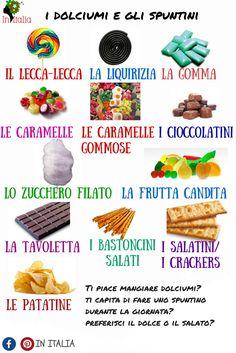#dolciumi e #spuntini  #initalia #lessicoitaliano  https://initalialinguaecultura.wordpress.com/lessico/
