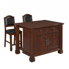 Home Styles 5575-948 Santiago Kitchen Island and Two Stools in Distressed Cognac