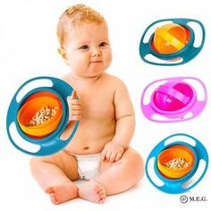 Item name: 360 rotate spill-proof baby bowl. Included: 1 X 360 Rotate Spill-Proof Bowl. Designed for baby, shaped like a flying saucer. Great for babies to have fun while they eat without the mess. Easy to clean and use. Cute Babies, Baby Kids, Baby Boy, Baby Dishes, Plastic Bowls, Baby Eating, Le Diner, Food Containers, Baby Food Recipes