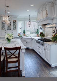 white kitchen cabinets granite countertop