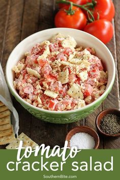 The classic flavors of a Southern tomato sandwich combine in this quick and easy Tomato Cracker Salad recipe. It's the perfect side dish to nearly any occasion the summer can throw at you! Add onion, celery, and shrimp. Salad Bar, Soup And Salad, Tasty Dishes, Food Dishes, Cooking Recipes, Healthy Recipes, Cooking Rice, Milk Recipes, Egg Recipes