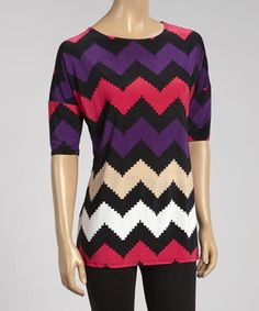 Look what I found on #zulily! Purple & Black Zigzag Dolman Top by MOA Collection #zulilyfinds