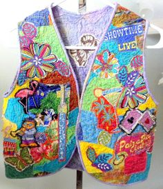 Wearable Art Vest Fabric Collage One of a Kind by Quiltwear, $85.00