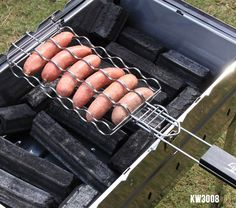 Outdoors Hot Dog Rack Metal Mesh Baskets For BBQ