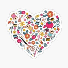 Favorites | Redbubble Heart Bubbles, Heart Artwork, Sticker Shock, Sewing Quotes, Free Stickers, Sewing Notions, Adhesive Vinyl, Heart Shapes, Quilts