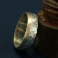 Two Tone Hammered Ring
