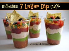- Spend With Pennies Individual 7 Layer Dip Cups Recipe! - Spend With Pennies Individual 7 Layer Dip Cups Recipe! - Spend With Pennies Individual 7 Layer Dip Cups Recipe! - Spend With Pennies Mexican Dip Recipes, Mexican Dishes, Seven Layer Taco Dip, 7 Layer Dip Recipe, Layered Taco Dip, 7 Layers, Party Dishes, So Little Time, Have Time