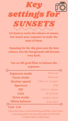 Film Photography Tips, Photography Settings, Photography Challenge, Photography Lessons, Sunset Photography, Photography Projects, Photography Business, Photography Tutorials, Creative Photography
