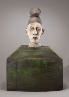 'Helen' by California-based American sculptor Joe Brubaker Carved, painted wood and reclaimed materials, 18 x 12 x 5 in. via Seager/Gray Gallery Mixed Media Sculpture, Sculpture Art, Drawing Projects, Art Walk, Contemporary Sculpture, Fine Art Gallery, Clay Art, Painting On Wood, Cool Drawings