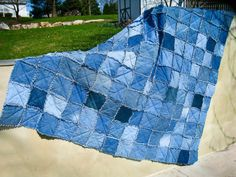 Blue Log Cabin Denim Quilt Queen Size Upcycled by CrookedSeamz ... : blue jean rag quilt - Adamdwight.com