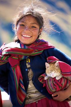 Maya girl with cat, Mexico ~ Aww, so cute