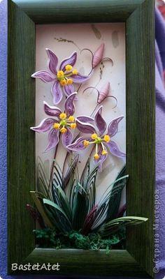 Картина, панно, рисунок Квиллинг: Болотные цветы  Бумажные полосы