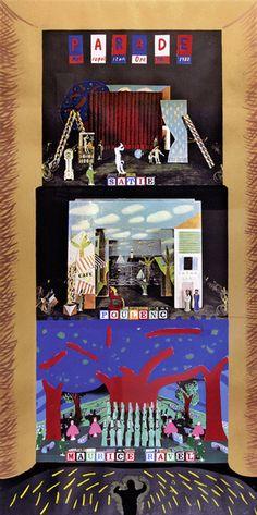 David Hockney: Parade - Satie - Poulenc - Maurice Ravel, metropolitan opera NY. 1982 - Original Farbserigraphie