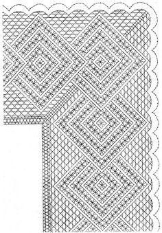 Esquina arañuelas Crochet Borders, Crochet Diagram, Crochet Lace, Bobbin Lace Patterns, Crochet Patterns, Bobbin Lacemaking, Hairpin Lace, Lace Heart, Lace Jewelry