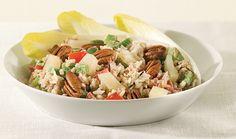rijstsalade met peer, pecannoten en boursin