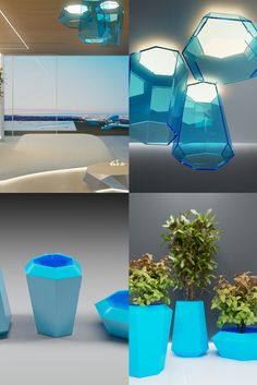 POLYCONE vases & lights by Alex Petunin Vase With Lights, Contemporary Sculpture, Futuristic Design, Lighting Design, Vases, Light Design, Vase
