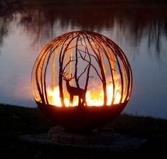 The Winter Woods peaceful birch tree fire pit sphere seems to draw you in, as though you are standing in a quiet forest sanctuary. Design Your Own.