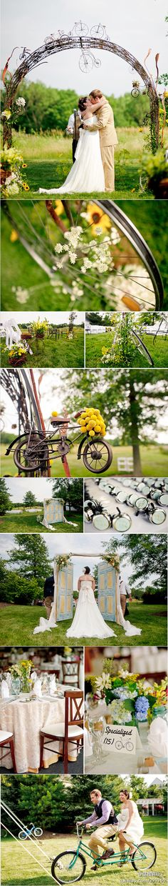 Bicycle theme wedding. Love the custom bell favors.