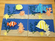 Elementary Art underwater collage- pop up fish(art teacher: v. giannetto) Great variation to the one I did for student teaching 3rd Grade Art Lesson, First Grade Art, School Art Projects, Kindergarten Art, Spring Art, Art Lessons Elementary, Fish Art, Art Lesson Plans, Teaching Art