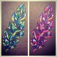 geometric feather color - Google Search