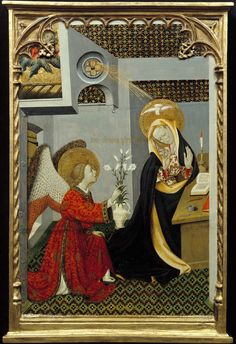 Bernat Martorell Active in Barcelona, The Annunciation 1427 Oil and tempera on wood Montreal Museum of Fine Arts Religious Images, Religious Art, Renaissance Art, Medieval Art, Photography Illustration, Art Photography, Feast Of The Annunciation, Santa Maria, Montreal Museums