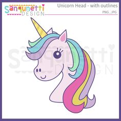 Sanqunetti Design: Unicorn head clipart with outlines