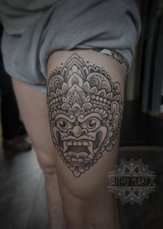 Barong dotwork tattoo Indonesian mask