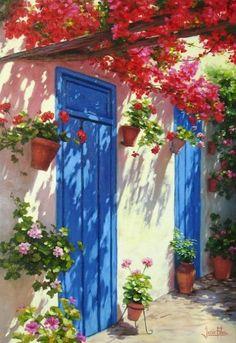 Patio_puertas_azules_ www.casitassayulita.com