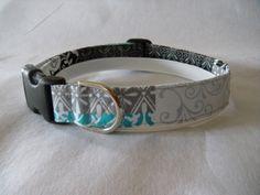 Handmade Cotton Dog Collar - Black, Grey and Aqua Print by WalkingTheDog on Etsy