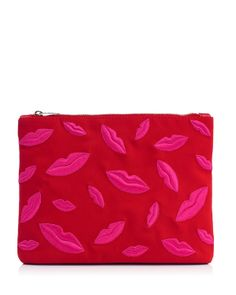Charlotte Olympia Kiss Me Lips Zip Pouch
