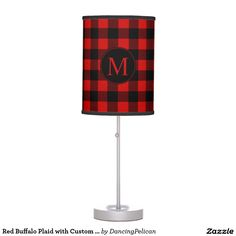 Red Buffalo Plaid with Custom Monogram Desk Lamp - Bold color with the look of a winter lodge, this rustic design features a red and black buffalo plaid pattern with custom monogram that you can edit with your desired monogram or other text. Sold at DancingPelican on Zazzle.