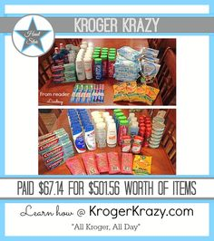 "WOW! Here is another fantastic Haul! Reader Lindsay scored over $500 worth of items for less than $68! AH-Maz-ing! You can learn to be a Kroger Krazy Haul Star too! Learn how at www.krogerkrazy.com ""All Kroger, All Day"" #Kroger #moneysaving"