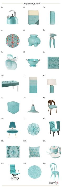 sherwin williams reflecting pool, interior styling ideas, interior design inspiration, get the look, product roundup, light teal, light turquoise, blue-green, aqua blue, color trends 2018