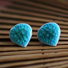 Fresh Ice Blue Crackle Ceramic Earrings / Stud by BohoBeachJewelry Beach Jewelry, Unique Jewelry, Asian Style, Bold Colors, Turquoise Bracelet, Stud Earrings, Ice, Ceramics, Fresh