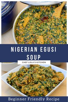 Egusi soup is a popular West African soup. This west African melon soup is an exotic hearty food that will satisfy your taste buds. It is very easy to make Egusi Soup Recipes, Ghana, Nigerian Soup Recipe, Nigeria Food, Cameroon Food, West African Food, One Pot Dinners, Delicious Dinner Recipes, International Recipes