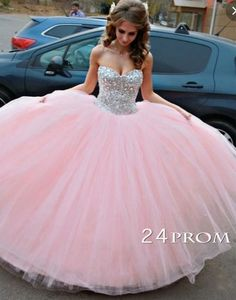 Sweetheart Neck Rhinestone Pink Long Prom Dress, Sweet 16 Dress, Formal Dress,Prom Gown,Long Prom Dresses