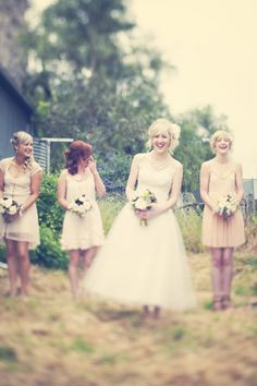 Another Vintage Wedding... love the bridesmaid/groomsmen outfits!